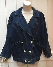 Vintage 80s Oversized Medium Wash Denim Batwing Slouchy Jacket Grunge 8 10