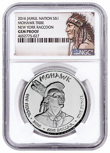 2016-Native-Silver-Dollar-NY-Mohawk-Raccoon-1-oz-Silver-NGC-Gem-Proof-SKU52725