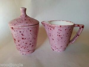 MID CENTURY MODERN PINK RED SPECKLED SUGAR BOWL COFFEE CREAMER CANADA ATOMIC