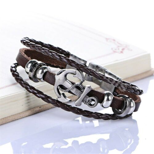 Damen Herren Armband Vintage Anker Surferarmband Armschmuck Kette Bracelet WOW