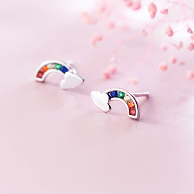 1Pair Novelty Rainbow Cloud Exquisite Jewelry Girls Ear Studs Useful