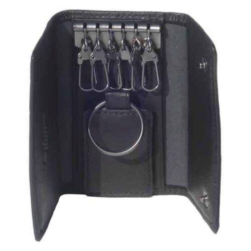 Black Leather 6-Hook Valet Key Case by Dilana™