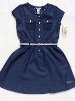 Guess Girls Size 7 Denim Jeans Lace Dress W/silver Belt Short Sleeve School