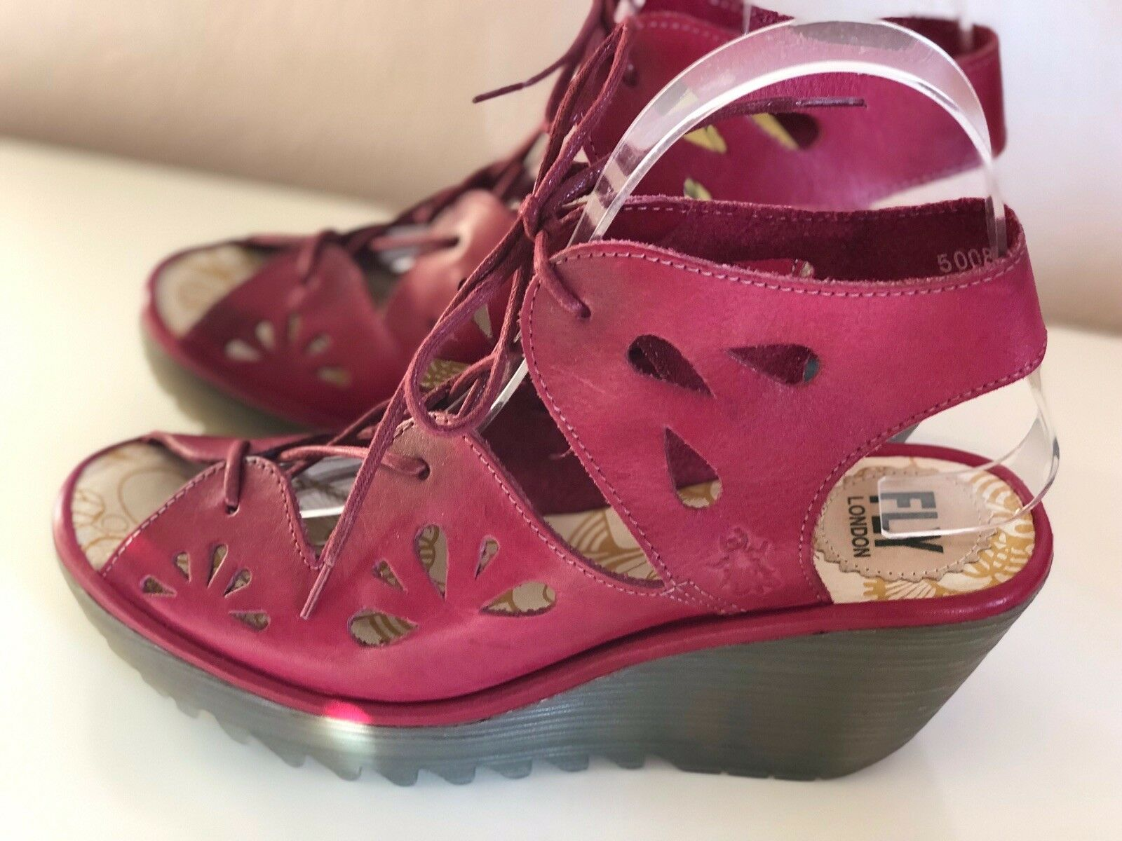 FLY LONDON YOTE WOMENS SANDAL UK SIZE 5 WEDGE, RED, OPEN TOE, BNWTS & BOX