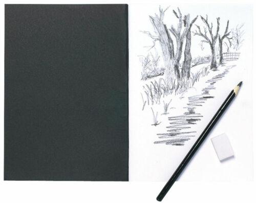 A5 Artist Sketch Book White Cartridge Paper Black Card Cover Art Pad A4