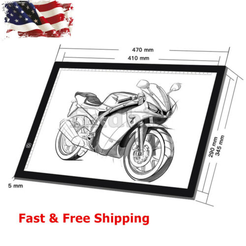 A3 LED Artist Tattoo Stencil Board Light Box Tracing Drawing Board Pad Table USB