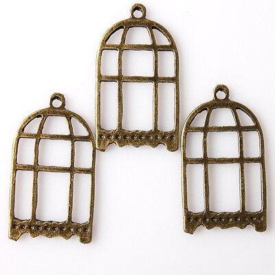 40pcs 145028 Vintage Bronze Tone Hollow Oblang Birdcage Charms Alloy Pendants