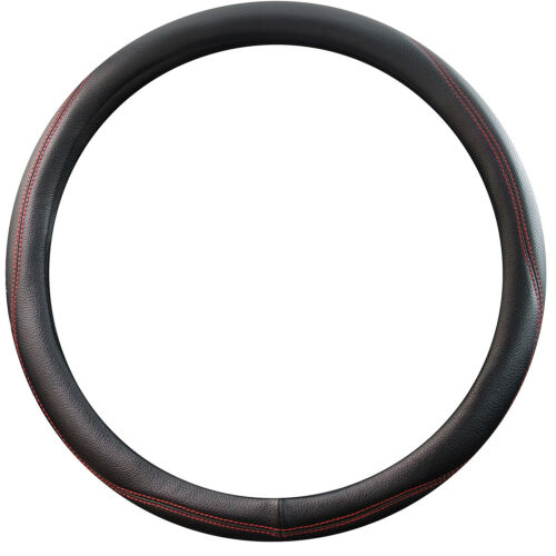 """Coleman Leather Steering Wheel Cover 15/"""" Inch For Car Red Stitch Grip Protector"""