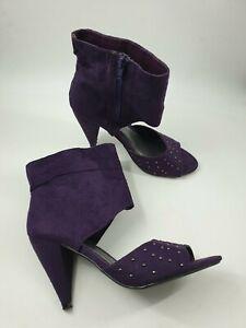 Krush-size-5-38-purple-faux-suede-side-zip-peeptoe-studded-high-ankle-heels