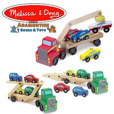 Melissa Doug Wooden Car Transporter Magnetic Loader Toy Early Learning Preschool