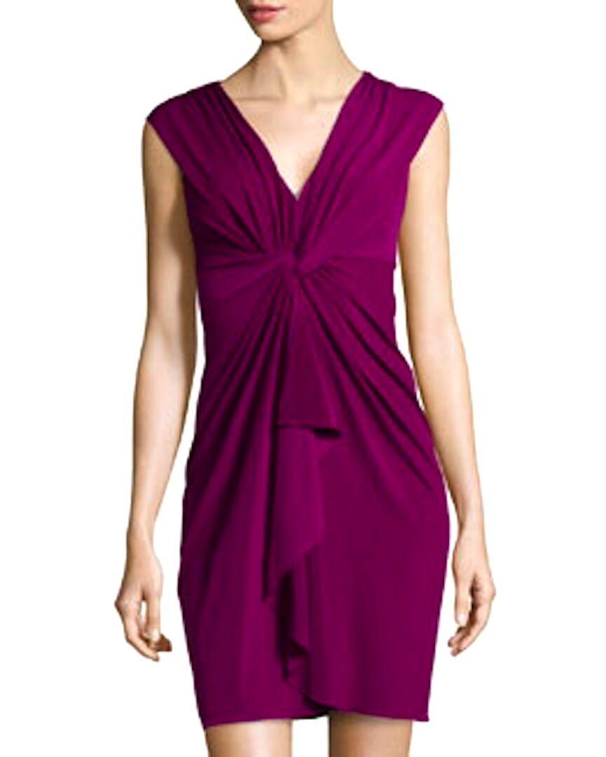 NWT Catherine Malandrino Jill twisted front cap sleeve cocktail dress 10 fuchsia