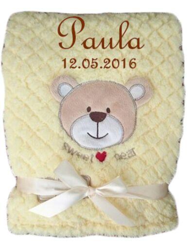 Babydecke mit Namen bestickt mega flauschig Geburt Taufe Geschenk Teddy Baby