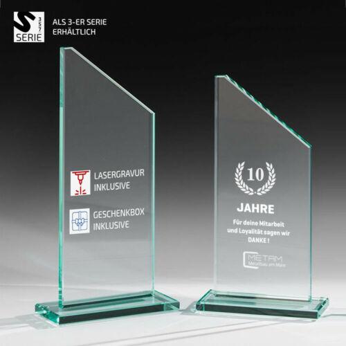 Glas Trophäe Glaspokal Benjamin Trapezform mit Gratis Gravur für Logo und Text