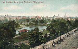 1920-039-s-VINTAGE-POSTCARD-St-STEPHEN-039-S-GREEN-from-SHELBOURNE-HOTEL-DUBLIN-PC