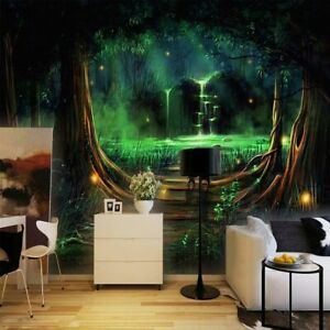 3d Enchanted Forest Waterfall Wall Mural Wallpaper Living Room