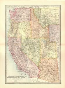 Utah And Idaho Map.1890 Antique Map Usa California Nevada Oregon Washington Arizona