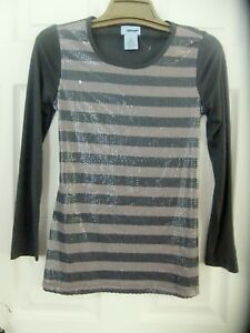 Uproar-Girls-Sz-L-14-16-Gray-Striped-Sequin-Top-with-Tie-Back