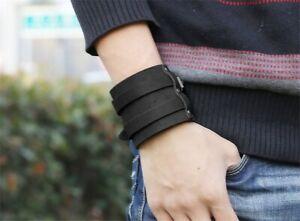 Breites-Echt-Leder-Armband-Schwarz-Lederarmband-Bracelet-Leather-Black-Unisex