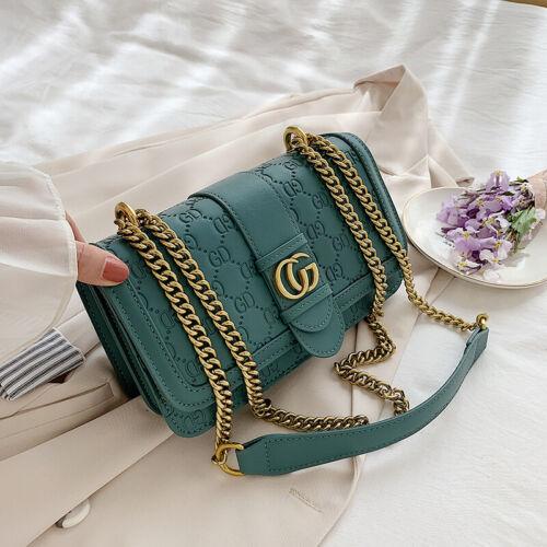 Women Shoulder Handbag PU Leather Crossbody Bag Tote Metal Chain Messenger Purse