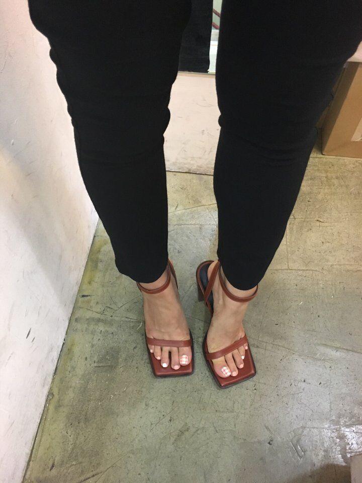 Manufatto] donna Ankle Pump Marronee Terre Cuoio Sandals Square  Toe Strap  bellissimo