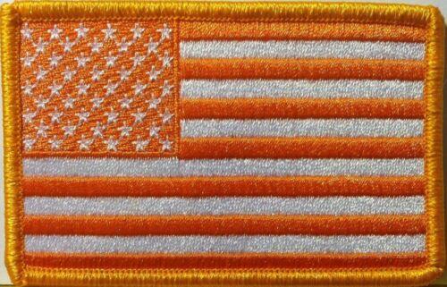 United States FLAG ORANGE /& WHITE Version Iron-On Patch Shoulder Emblem #81