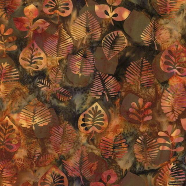 """42"""" Remnant Hoffman Batik Bali Chop Graphic Leaf K2498-432 Dijon Cotton Batik"""