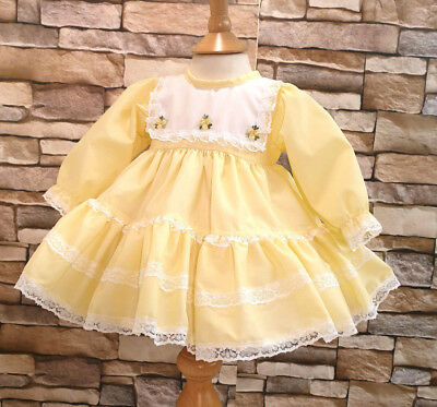 DREAM 0-5 YEARS WHITE PINK FRILLY SPANISH PUFFBALL DRESS OR REBORN DOLLS
