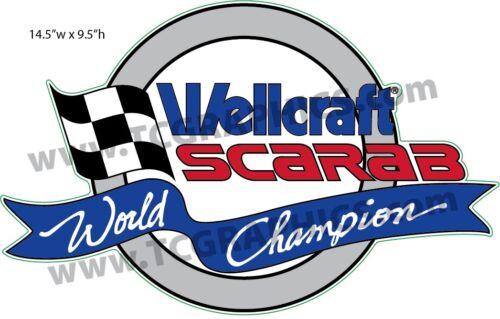 "Wellcraft Scarab World Champion Boat Grey Sticker Decal 14.5/"""