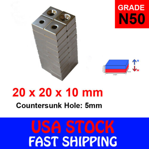 N50 Countersunk Block Strong Magnets Rare Earth Neodymium Hole Various Sizes