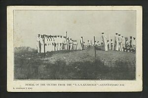 Military postcard Burial of Victims Guantanamo Bay USS Kearsage USS New Mexico