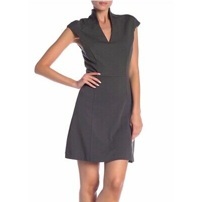 Alexia Admor Military Neck S S Sheath Dress Gray