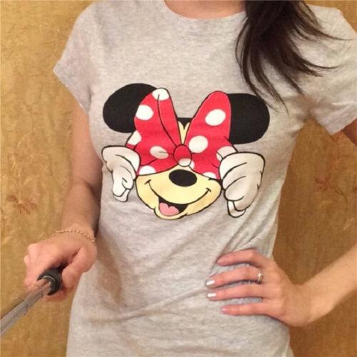 Damen Mickey Minnie Maus Kurzarm T-Shirt Sommer Freizeit Oberteile Blusen Tops