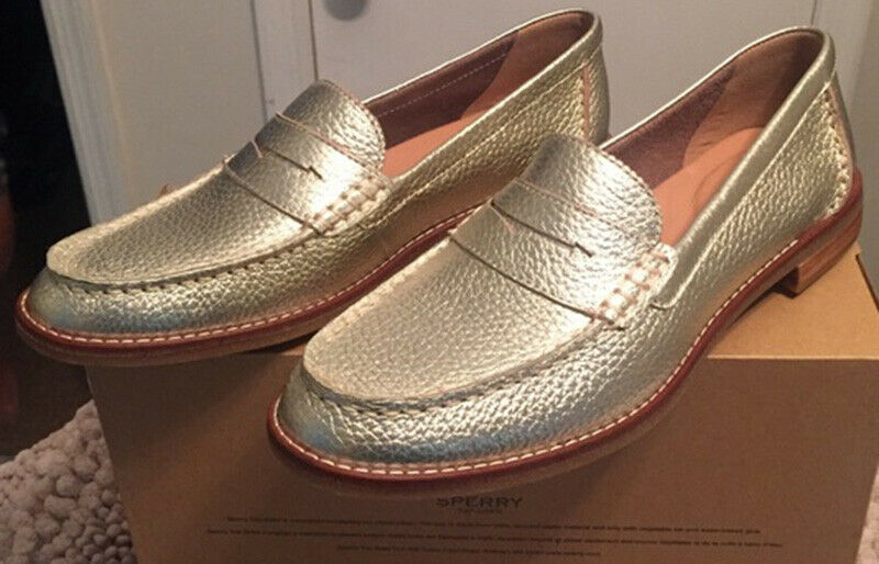 8M SPERRY SEAPORT PENNY PLATINUM donna FLAT SLIP ON LOAFERS sautope