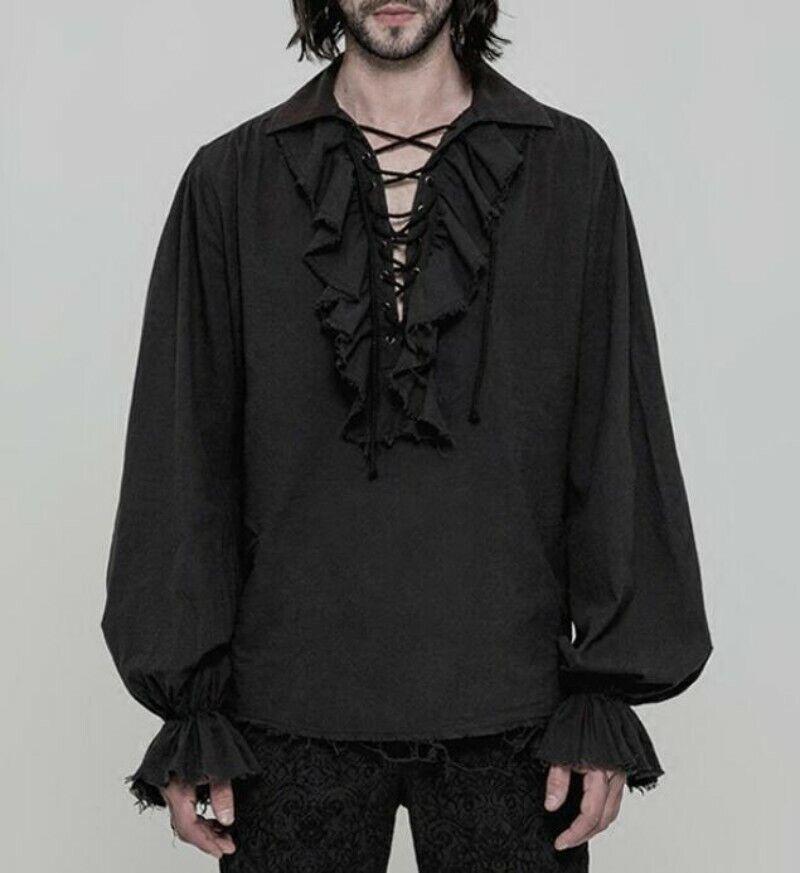 Gothic Steampunk Retro Men's Lace Cotton Ruffle Top Blouse Shirt Victorian Ske15