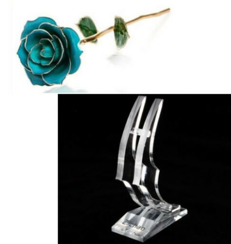 Long Stem Dipped 24k Gold Rose in Box with Display Stand for Women Gifts