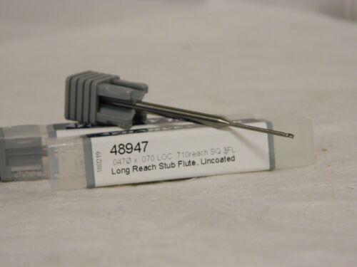 Harvey Tool Mini End Mill .0470 x.070 LOC .710 Reach 3 FL Qty 2 48947