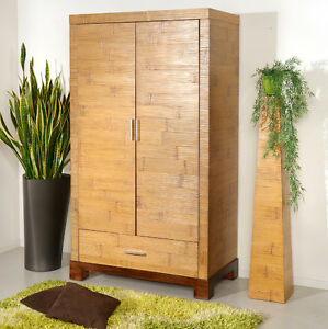 bambusschrank tawau schrank holzschrank kleiderschrank garderobe massiv natur ebay. Black Bedroom Furniture Sets. Home Design Ideas