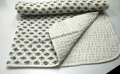New Hand Block Print Kantha baby Quilt Soft Baby baby Kanth Throw Blanket
