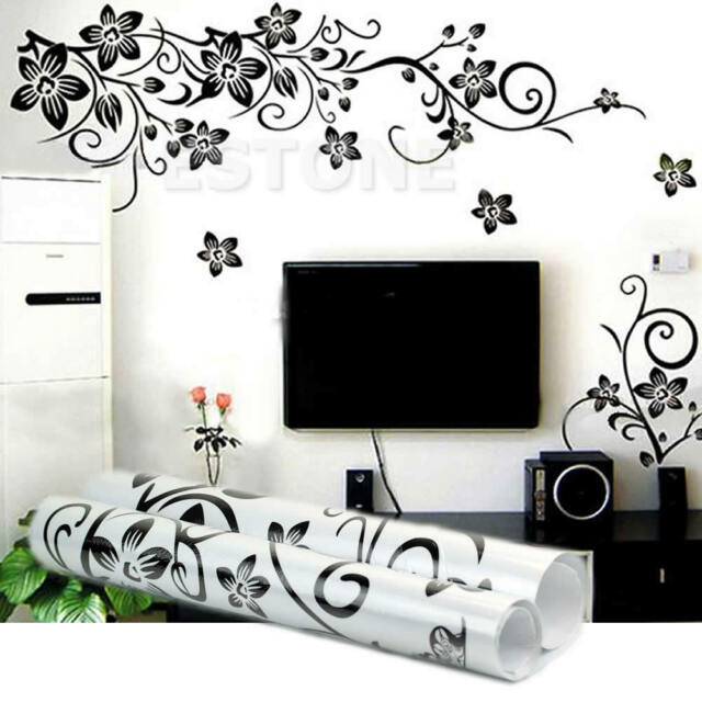 Black Flowers Removable Wall Stickers Wall Decals Mural Home Art DIY Decor