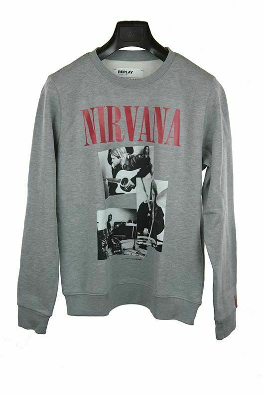 Replay Nirvana tribute grey long-sleeve jumper size S RRP105