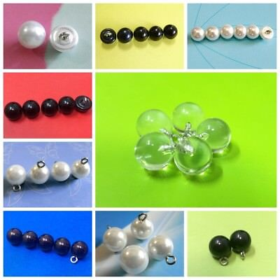 15 Pearl White Bead Small Shirt Half Ball Dome Caps Wire Loop  Button 7.5mm S299