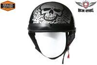 Dot Approved Boneyard Silver Motorcycle Helmet - Blow Out Sale
