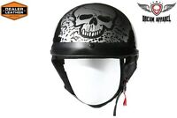 Dot Approved Boneyard Silver Motorcycle Helmet - Blow Out Sale