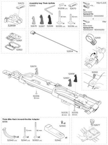 Remplacement Roue Arrière Support pour Thule vertical Cycle 599 Transporteur P//Nº 52959