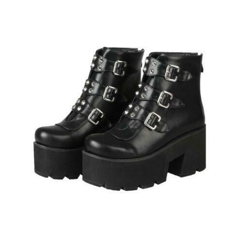 Women Punk Platform Buckle Strap Wedge Heels Rivet Punk Ankle Boots Gothic Shoes
