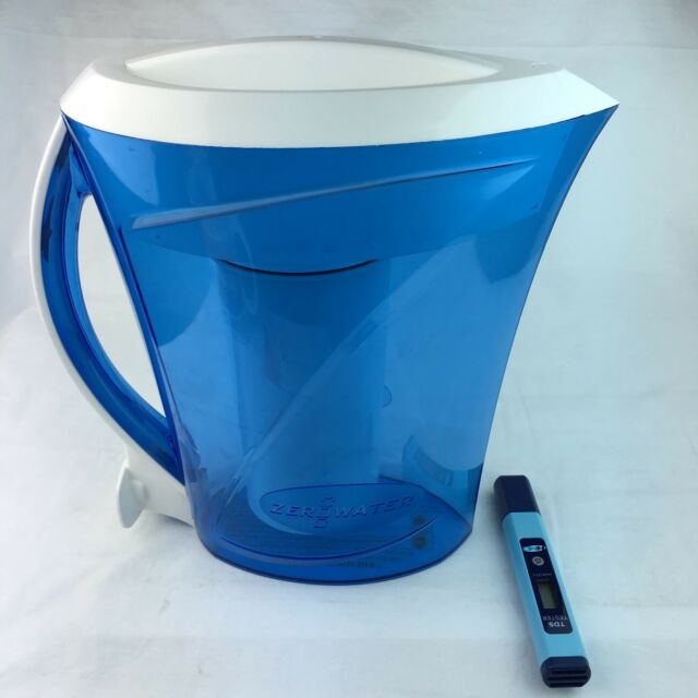 Water Filter Pitcher Zero Water 8 Cup w/ Digital Water Tester Blue