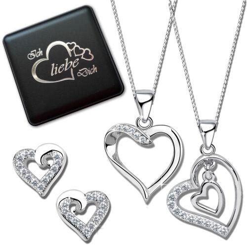 Geschenkbox SET Ohrringe Halskette Herz Kette echt Silber 925 Frauen Anhänger