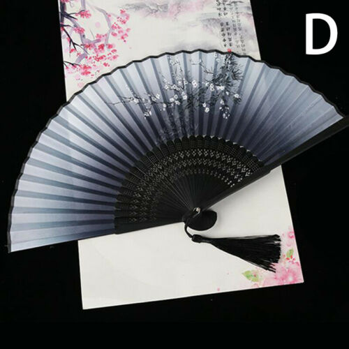 Chinese Vintage Traditional Painting Silk Tassel Folding Hand Fan Dance Access