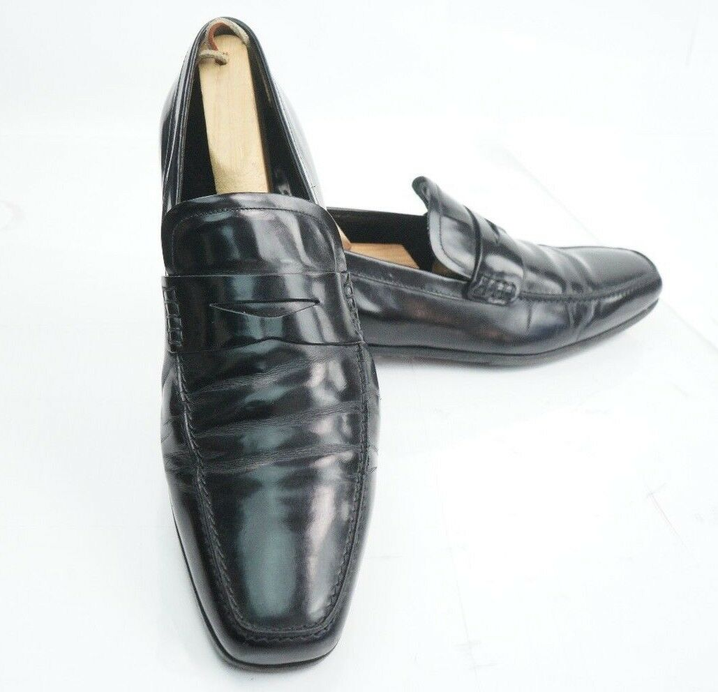 A. TESTONI Black  Penny Loafer Dress shoes 9M Made in