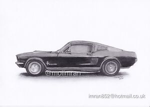 Original Pencil Drawing Of American Mustang Car Side View Graphite